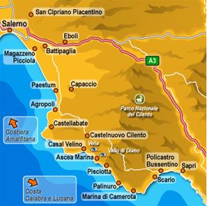 mappa del Cilento